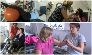 A collage of services offered by Harrow MS Therapy Centre, including physiotherapy and hyperbaric oxygen therapy