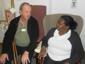 Co-Chair of Trustees Jeremy Ridout discusses lunch with O2T operator Paulette Spicer