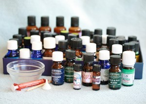 A collection of various essential oils for aromatherapy