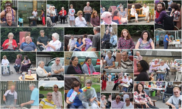 A collage of photos from the August barbecue at Harrow MS Therapy Centre, showing members and friends enjoying themselves and the food