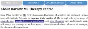 Screengrab of our 'About Us' page, with the link to our page on oxygen therapy focused, which hence has a dark blue background to provide contrast