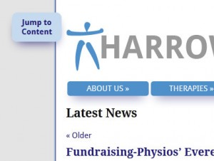 Screengrab of Harrow MS Therapy Centre showing activated jump link