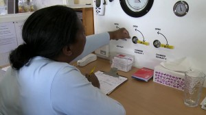 A Centre staff member carefully monitors pressure levels