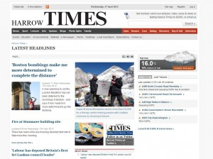 Screengrab of Harrow Times website homepage, featuring Jo and Apeksha's Everest Challenge