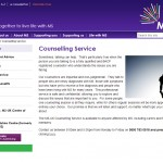 Screengrab of MS-UK Counselling Service webpage