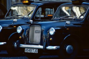 Two London taxis