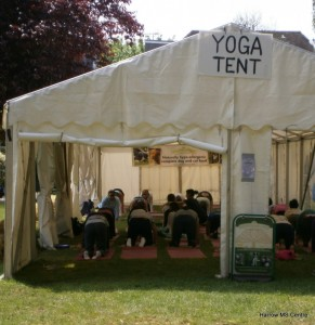 People taking part in the yoga tent