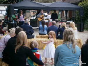Attendees enjoying a live acoustic music performance