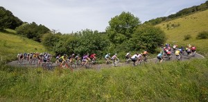 Riders cycle through the countryside of Surrey in the Prudential RideLondon-Surrey 100