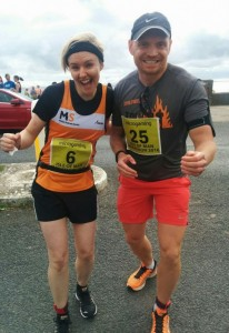 Natasha and Adrian before the isle of Man marathon in August 2016