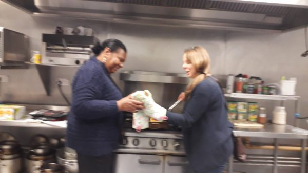 Paulette and Carol in the kitchen